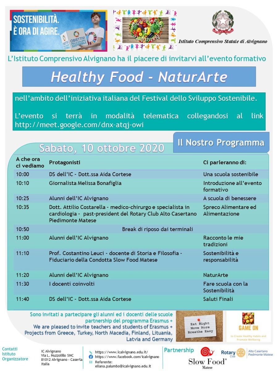 Evento Formativo: Healty Food - NaturArte (10 Ottobre 2020)